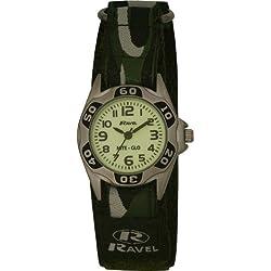 Ravel Children's Glow in the Dark Green Camouflage Strap Watch