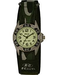 Ravel Children's Glow in the Dark Green Camouflage Strap Watch
