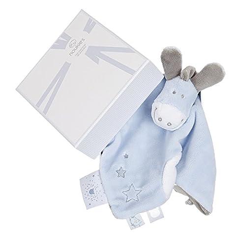 NOUKIES Doudou Paco Boîte Cadeau Bleu Cocon/Blanc 14 x 8 x 20 cm