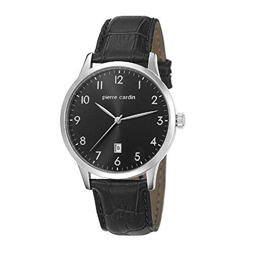 Pierre Cardin Homme Noir Cuir Bracelet Minéral Verre Montre pc106671f01