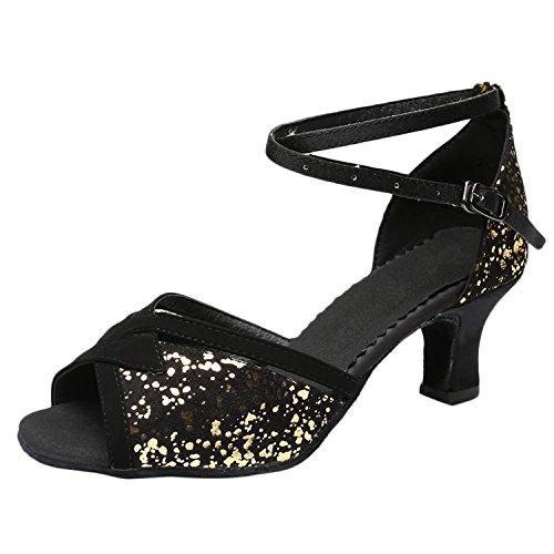 Oasap Women's Fashion Peep Toe Sequins Party Latin Dance Shoes gold
