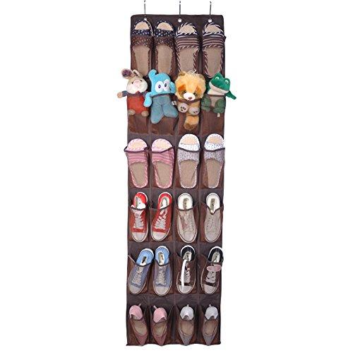 Wiiguda@ portascarpe da appendere alla porta organizzatore di scarpe salvaspazio armadio scarpe organizzatore di scarpe con 24 tasche a rete sospese, nero