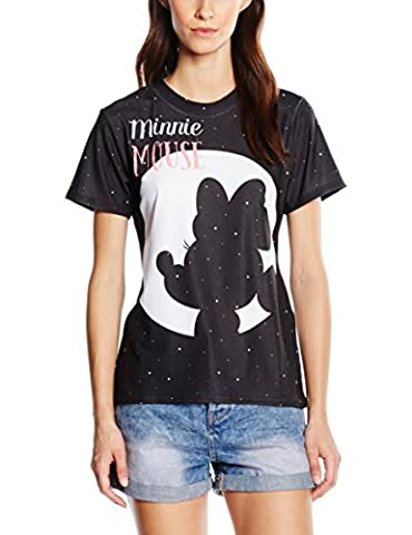 Disney Damen T-Shirt Minnie Mouse Moon Silhouette, Schwarz-Schwarz,