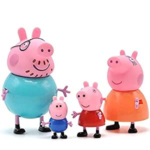 Windup Cute Action Toy Pig Family (5 - 9 cm) - with 3D Stickers Gift - Set of 4