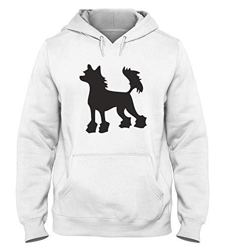 T-Shirtshock Kapuzen-Sweatshirt fur Mann Weiss WES0577 Chinese Crested Hairless Dog Silhouette Chinese Crested Dog Sweatshirt