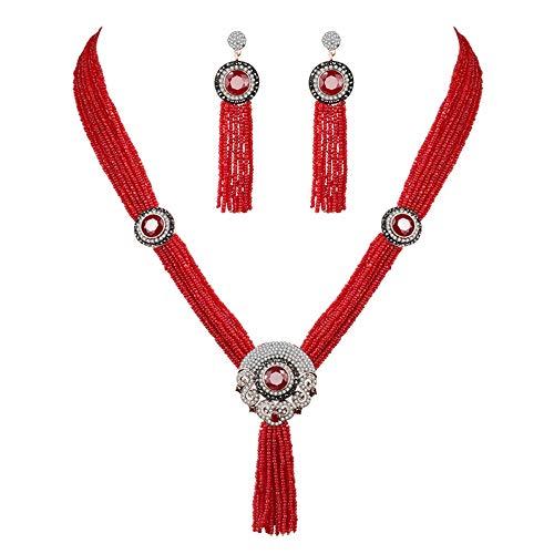 set Highlight Halskette Afrikanische Perle Halskette Schmuck Set Für Frauen Nigerian Hochzeit Brautschmuck Sets ()