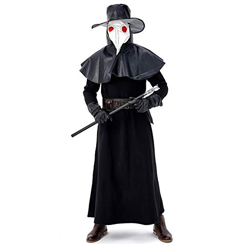Mädchen Kostüm Krähe - COSOER Pest Vogel Mund Arzt Kostüm Mittelalterliche Steampunk Wind Kleidung Mit Krähe Langen Mund Maske Für Halloween Erwachsene,L