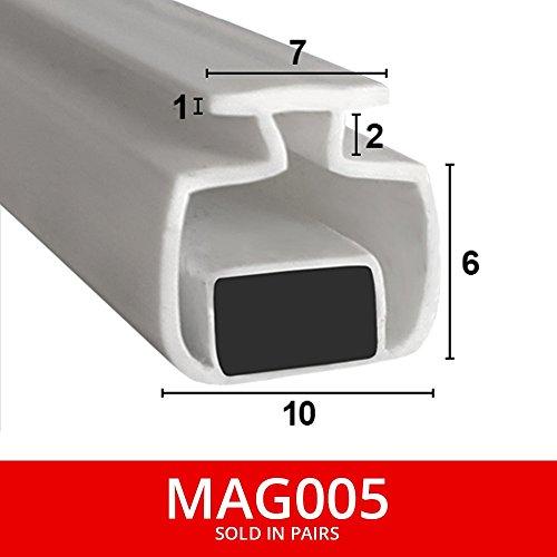 magnetisch Dusche Dichtungen für Kanäle | aus zwei | weicher flexibler faltbar, weiß Gummi T mit Magnet | passt in 7mm Kanal | 2Meter lang | Mag005 -