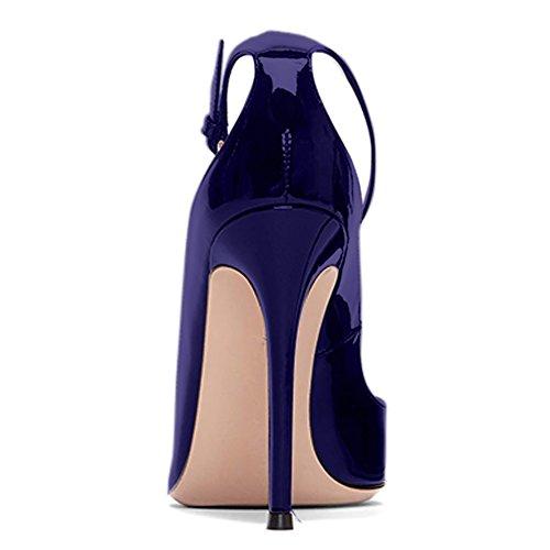 Damen Pumps Spitze Zehen High-Heels Stiletto Lackleder Knöchelriemchen Schnalle Blau