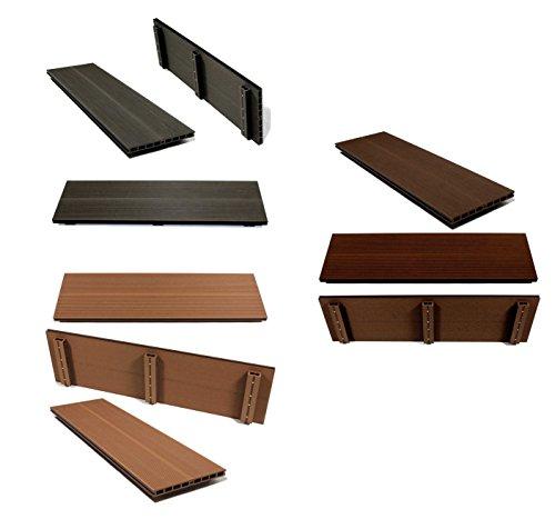 WPC-Sitzbankfläche 100x30cm für Gartenbank, Gabione, Bank, Holz-Optik, Sitzauflage (Dunkelgrau)