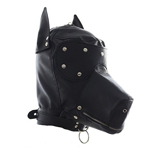 FeiGu Black Leather Bondage Gimp Mask Dog Puppy Head Hood T4 (Weibliche Gimp Kostüm)
