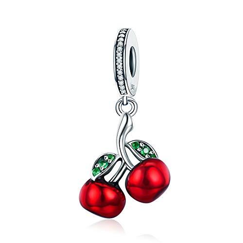 Rote Kirschen Kirschen-Anhänger Sterling-Silber 925 Emaille Kirschrot für Damen-Armbänder & Halsketten