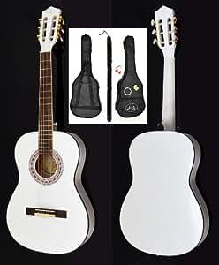 Guitare acoustique concert en blanc à la taille 3/4 pour enfants de 8 à 12 ans + set d'accessoires