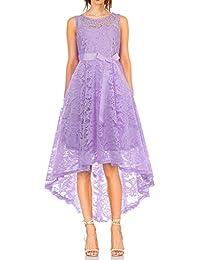 35319b1c6ec0 MONYRAY Vestito Donna Elegante Cerimonia in Pizzo Floreale Abito da Sera  Corto Davanti Lungo Dietro