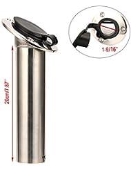 Amarine-made 30grados inoxidable Heavy Duty Flush Mount a los rayos UV soporte para caña con tapa de PVC negro y liner- 7745–30