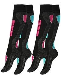 VCA 2 Paar Damen SKI Funktionssocken, Skisocken mit Spezialpolsterung