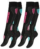 2 Paar Original VCA® SKI Funktionssocken, Wintersport Socken mit Spezial Polsterung,Gr.-39/42,Pink/Turquoise