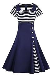 2017 Damen 50er Jahre Retro Kleid Swing Cocktailkleid Partykleid Pin up gestreift Lang, Navy Blau 2, Gr. XXXL