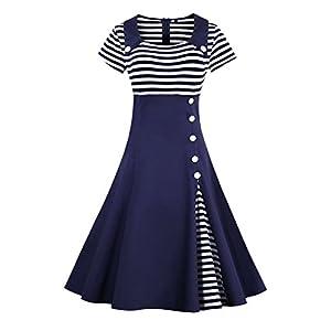 MisShow Damen 50s Vintage Rockabilly Kleid Jersey Sommerkleid Abendkleid getreift Pin Up Gr.S~4XL