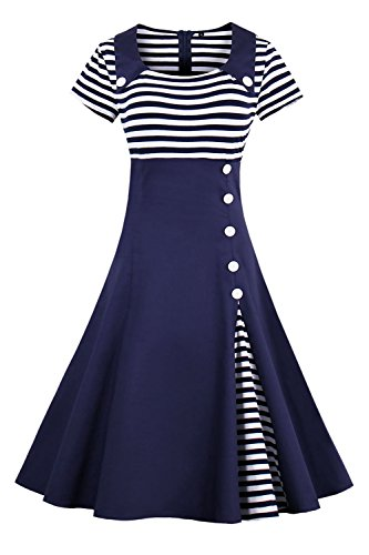 2017 Damen 50er Jahre Retro Kleid Swing Cocktailkleid Partykleid Pin up gestreift Lang, Navy Blau 2, Gr. M -