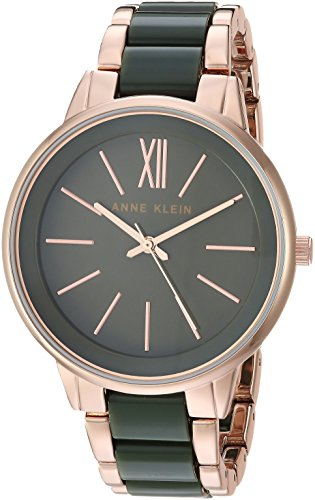 Anne Klein Women's AK/1412OLRG Rose Gold-Tone and Olive Green Bracelet Watch