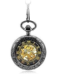 Negro Reloj Retro Tallado Reloj De Bolsillo Mecánico Automático De La Cadena Collar