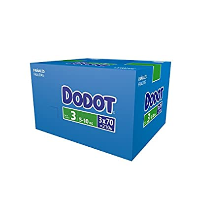 Dodot Bebé-Seco – Pañales para bebé con canales de aire, 6-10 kg, Talla 3 (5 – 10 kg) – 210 Pañales