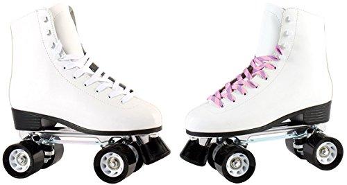 Echtleder Rollschuhe/Discoroller für Erwachsene und Kinder in schwarz oder weiß mit Stopper Gr. 36-42 (weiß - 39)