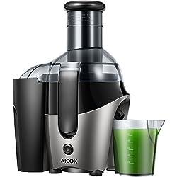 Entsafter, Aicok Zentrifugaler Entsafter mit 75mm große Einfüllöffnung, 2 Geschwindigkeitsstufen Entsafter für Obst und Gemüse inkl, BPA-frei Juice Extractor, Überladungsschutz, 500W