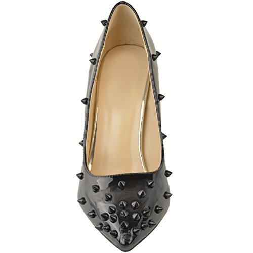 Damen High Heels mit Stiletto-Absatz - spitze Nieten Schwarze Lackoptik