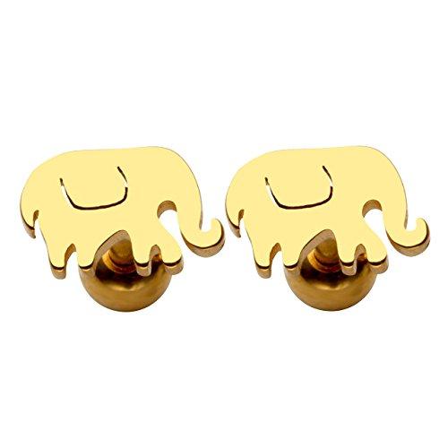 PiercingJ 2 Stücke 1.2mm Edelstahl Elefanten-Form Ohrstecker Helix Tragus Ohrläppchen Ohr Piercing Barbell Stud Unisex Punk, silber/gold/schwarz (Gold)