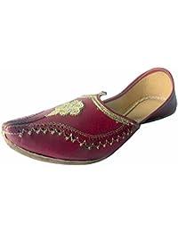 N Step Kolhapuri Sandalo da donna, stile Jaipuri Slipon Salwar Kameez Mojari scarpe scarpe, Argento (argento), 36.5