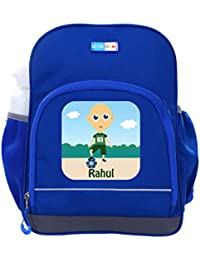 UniQBees Personalised School Bag With Name (Little Life Pre-School Backpack-Blue-Football 4)