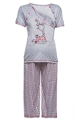 HAPPY MAMA Women's Maternity Top T-Shirt Breastfeeding Pyjamas Crop Pants. 173p