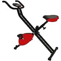 Preisvergleich für Style home Heimtrainer Fitnessgerät Fitnessfahrrad Fitnessbike faltbar Digitale Anzeige Pulsmesser Ergometer Rot XB-A001