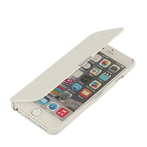 MTRONX iPhone 6 Hülle, iPhone 6s Hülle, Case Cover Schutzhülle Tasche Etui Klapphülle Magnetisch Dünn Leder Folio Flip für Apple iPhone 6 iPhone 6s - Weiß(MG-WH)