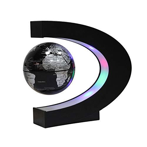 Ardermu Globo Flotante de Levitación Magnética con Forma de C - Rotación del Mapa del Mundo con Luces LED para la Educación Enseñanza Inicio Oficina de Decoración de Escritorio Regalo de Cumpleaños