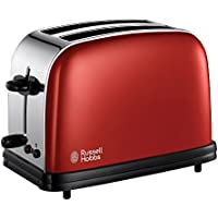 Russell Hobbs 18951-56 Colours Flame Red - Tostadora de acero inoxidable, 1100 W
