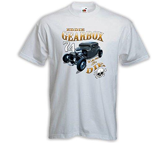 Hot Rod T-Shirt Gearbox weiß Vintage Rockabilly USA V8 Rat Rod Weiß