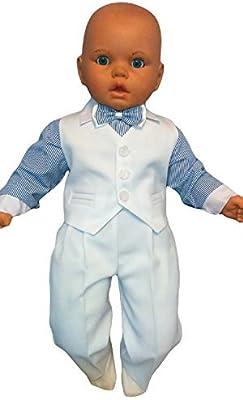 Traje de bautizo jóvenes de bebé Infantil Traje De Boda De Fiesta, 4 piezas , blanco azul K5A