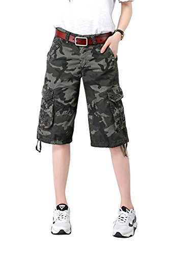 AUSZOSLT Women's Casual Multi-Pockets Sports-Wear Knee Length Cargo Shorts