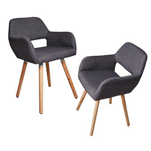 Hollylife retro poltrona sedia sedile imbottito in spugna gambe in legno di rovere moderno tessuto posteriore aperto (2sedie colore grigio scuro)