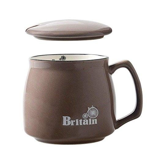 HwaGui Grand Tasse de café en Porcelaine avec Couvercle, Mug en faïence pour Le thé, Marron Britain 400ml / 14oz