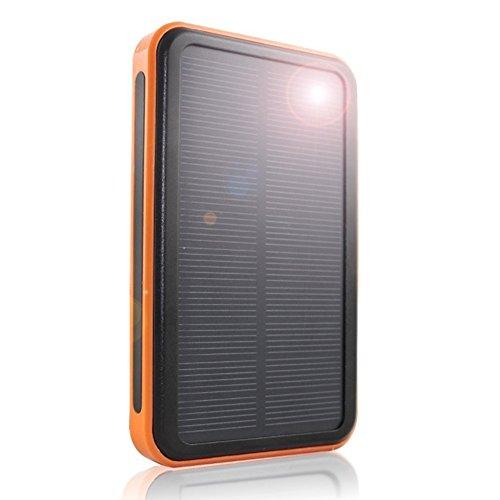 Yfqh caricabatteria solare caricabatterie solare 12000 mah/caricabatterie solare portatile caricabatterie portatile dual usb/impermeabile led torcia elettrica (arancione),12000mah