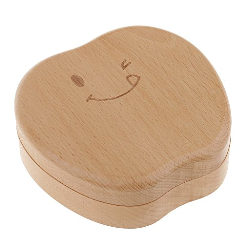 Junge Mädchen Apfel Stil Curl Zahnbox Baby Speichern Milch Zähne Holz