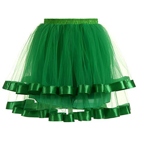 Xmiral Tutu Gonna Danza Womens Sexy Party Granatina colorato 4 Strati Tulle Costume di Prestazioni Costume Danza Principessa Costume Carnevale Halloween Taglia Unica Verde