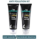 mCaffeine Coffee Anti Pollution Kit | Deep Cleanse, Blackheads Removal | Face Wash (100ml), Face Scrub(100gm) | Oily/Normal Skin | Paraben & SLS Free
