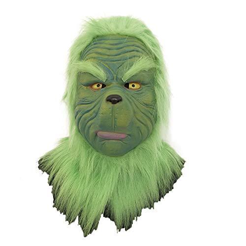 Kostüm Halloween Für Erwachsene Grinch - CUEYU Halloween Christmas Grinch Maske Deluxe Grün Latex Helm Cosplay Kostüm Zubehör für Erwachsene Kleidung Verrücktes Kleid Merchandise