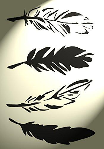 Vintage-stil-bogen (Schablone zur Wanddekoration, Federmotiv, Vintage-Stil / Shabby Chic, Bogen im A4-Format (zum Zuschneiden))