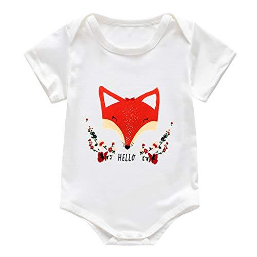 Tyoby Baby Kurzarm T-Shirt Mode Cartoon drucken Bodys Schlafanzug Bequem Schnitt Unisex Kindermode Einteiler Onesies Tops(RotA,80)